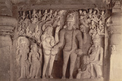 Wedding scene of Seeta [Shiva and Parvati] carved in Dhumar Lena Cave, Ellora